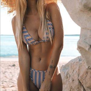 Triangle yellow stripe bikini